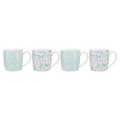 Home Collection - Multi-colour set of 4 butterfly print mugs