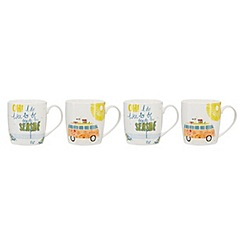 Home Collection - White set of 4 summer scene mugs