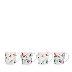 Home Collection - Set of four bird print fine china mugs