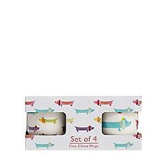 Home Collection - Set of four sausage dog fine china mugs
