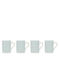 At home with Ashley Thomas - Set of four floral print porcelain mugs