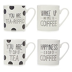 Home Collection - Set of four white slogan mugs