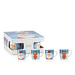 Home Collection - Pack of 4 assorted fine china Santa and reindeer print Christmas mugs
