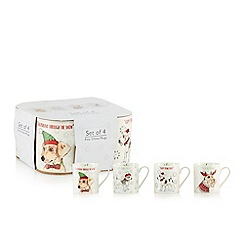 Home Collection - Pack of 4 white fine china Christmas dog print mugs