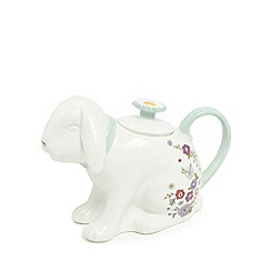 At home with Ashley Thomas - White porcelain floral print rabbit teapot