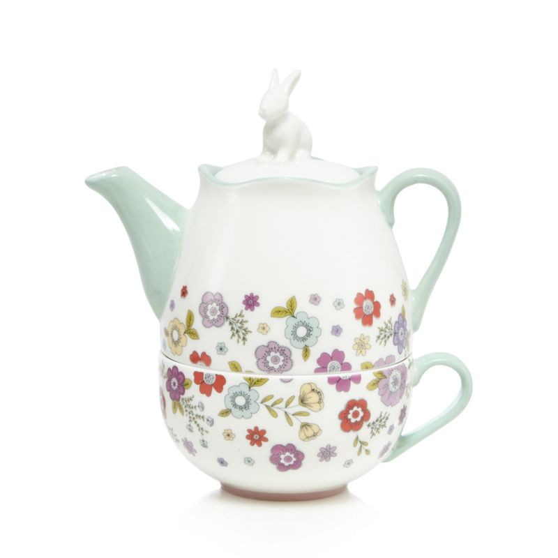 At home with Ashley Thomas White floral print rabbit tea