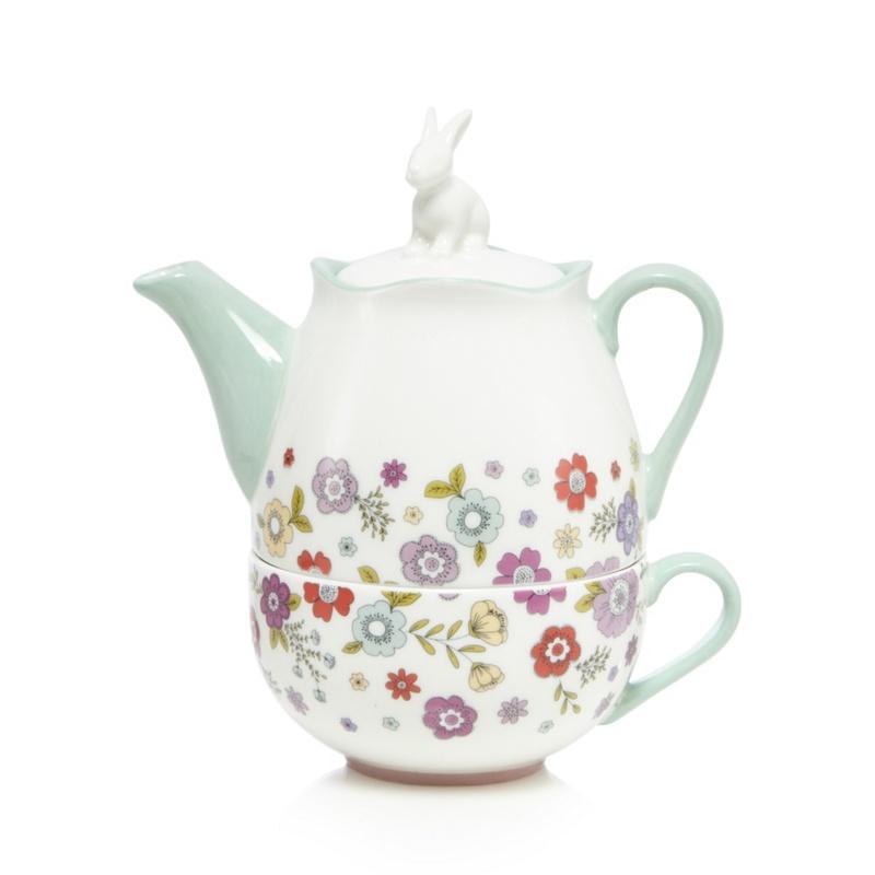 At Home With Ashley Thomas White Porcelain Rabbit Tea for