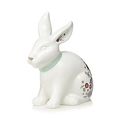 At home with Ashley Thomas - White floral print rabbit money box