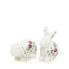 At home with Ashley Thomas - White floral print rabbit salt and pepper shakers
