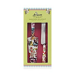 At home with Ashley Thomas - Ceramic floral print cake slice and knife serving set