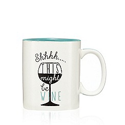 Ben de Lisi Home - Turquoise 'This might be wine' slogan print mug