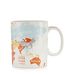 Ben de Lisi Home - Orange world map print mug