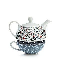 At home with Ashley Thomas - White floral print tea for one set