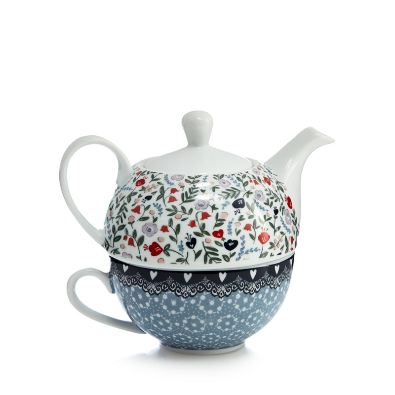 At Home With Ashley Thomas White Floral Print Tea for One