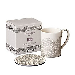 Denby - Monsoon Filigree' silver mug & coaster set