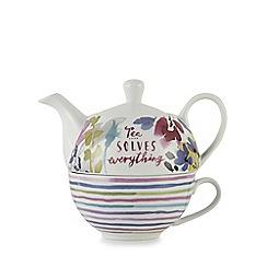 At home with Ashley Thomas - Multi-coloured floral print teapot and mug set