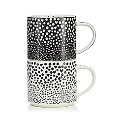 Ben de Lisi Home - Set of two black and white porcelain stacking mugs