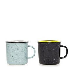 Ben de Lisi Home - Pack of two blue splatter effect mugs