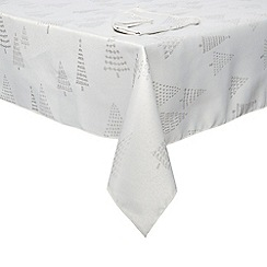 Home Collection - Silver Christmas tree tablecloth and napkin set
