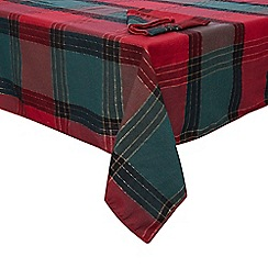 Home Collection - Multi-coloured tartan tablecloth and napkin set