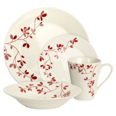 Sixteen piece Red Blossom dinner set