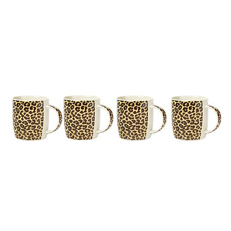 Sabichi - Set of four leopard print bone china mugs
