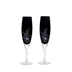 Denby - Set of 2 'Monsoon Chrysanthemum' champagne flutes