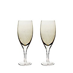 Denby - Set of 2 'Lucille Gold' red wine glasses