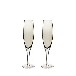 Denby - 2 piece 'Lucille Gold' champagne flute glass set