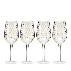 Home Collection - Set of 4 'Cosmo' gold confetti wine glasses