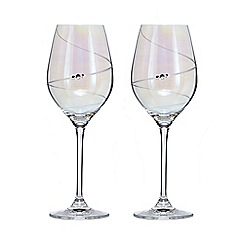 Star by Julien Macdonald - Set of two swarovski crystal lustre wine glasses