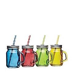 Kitchencraft - Set of 4 Mini Glass Drinks Jars with Straws