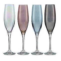 Star by Julien Macdonald - Set of four mixed lustre flute glasses