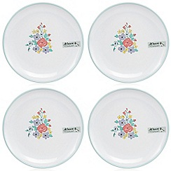 At home with Ashley Thomas - Set of four white ditsy floral print dessert plates