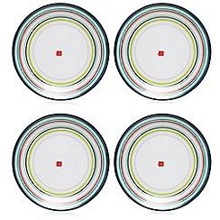 Ben de Lisi Home - Set of four white striped dessert plates