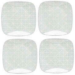 Debenhams - Set of four diamond print dinner plates