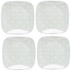 Debenhams - Set of four diamond print dinner plates
