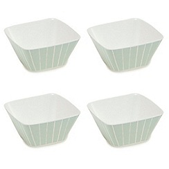 Debenhams - Set of four green striped cereal bowls