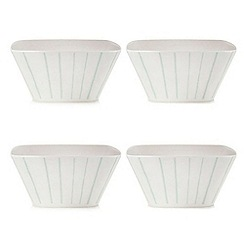 Debenhams - Set of four white striped print cereal bowls