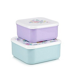 At home with Ashley Thomas - Set of two pale green and purple ditsy floral print snack boxes