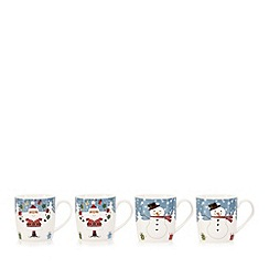 Debenhams - Set of four ceramic Santa print mugs