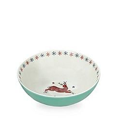 At home with Ashley Thomas - Aqua prancing reindeer print large bowl