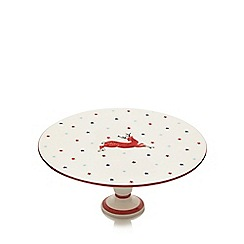 At home with Ashley Thomas - Cream prancing reindeer print cake stand