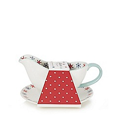 At home with Ashley Thomas - Porcelain festive print sauce boat