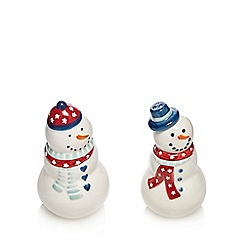 At home with Ashley Thomas - White snowman salt and pepper shakers in a gift box