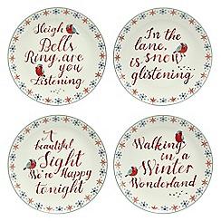 At home with Ashley Thomas - Set of four white 'winter wonderland' dessert plates