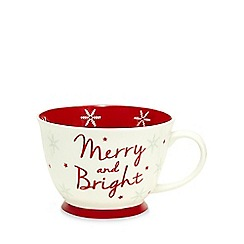 At home with Ashley Thomas - White 'Merry and bright' print large mug
