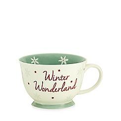 At home with Ashley Thomas - White 'Winter wonderland' print large mug