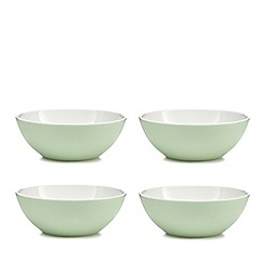 At home with Ashley Thomas - Set of four lemon print green melamine bowls