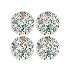 Butterfly Home by Matthew Williamson - Pack of four multi-coloured bird print dinner plates